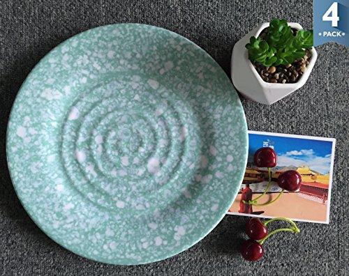 10 Melamine Dinner Plates Set - Yinshine 4 PCS Serve Dishes Set Green