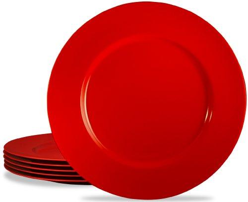 Calypso Basics by Reston Lloyd Melamine Dinner Plate Set of 6 Red
