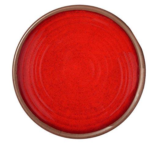 Melange 6-Piece 100 Melamine Dinner Plate Set Clay Collection   Shatter-Proof and Chip-Resistant Melamine Dinner Plates  Color Red