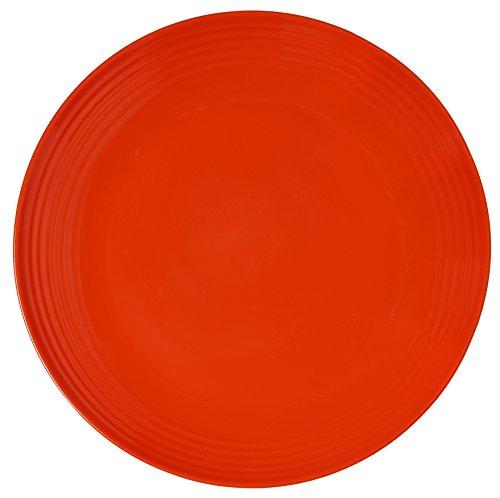 Melange 6-Piece  Melamine Dinner Plate Set Solids Collection   Shatter-Proof and Chip-Resistant Melamine Dinner Plates  Color Orange