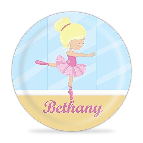 Ballerina Plate - Pink Ballet Studio Melamine Personalized Plate