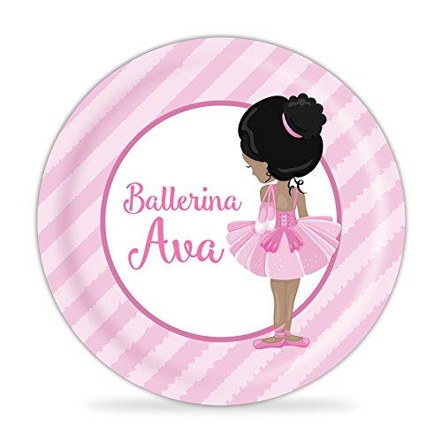 Ballerina Plate - Pink Stripe Ballet Melamine Personalized Plate