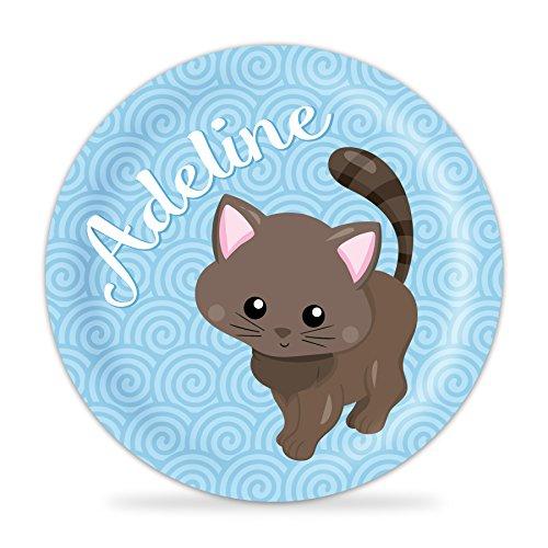 Kitten Plate - Blue Cat Melamine Personalized Plate