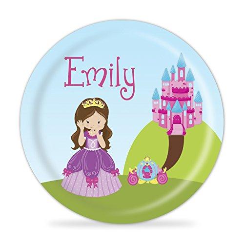 Princess Plate - Pink Castle Purple Princess Melamine Personalized Plate