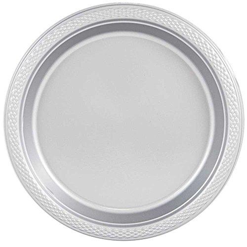 JAM Paper Round Plastic Party Plates - Medium - 9 - Silver - 20pack