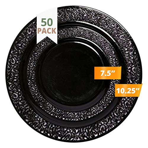 Party Joy 50-Piece Plastic Dinnerware Set  Lace Collection  25 Dinner Plates 25 Salad Plates  Heavy Duty Premium Plastic Plates for Wedding Parties Camping More Black