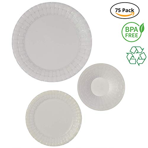 Party Joy 75-Piece Plastic Dinnerware Set  Weave Collection  25 Dinner Plates 25 Salad Plates  25 Bowls Heavy Duty Premium Plastic Plates for Wedding Parties Camping More White