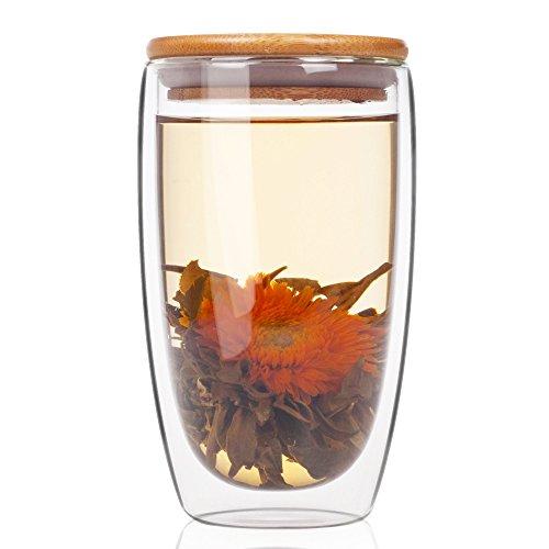 ELITEA Double Wall Glass Coffee Mug Tumbler with Lid Large 15 ozfl