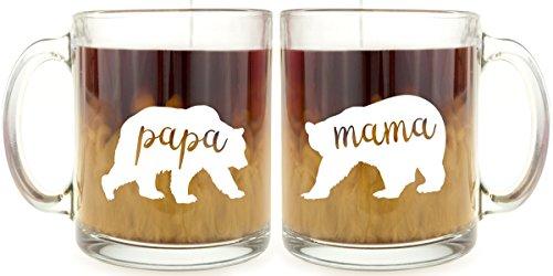 Mama Bear Papa Bear Glass Coffee Mug Set
