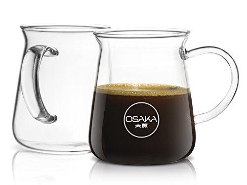 Osaka Borosilicate Glass Coffee Mug 10oz Capacity - Set of 2 Coffee mugs designed for the optimal drinking experience Ikuta Shrine