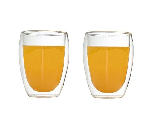 Rhysens Double Wall Glass Coffee Mug or Tea Cup12ozSet of 2