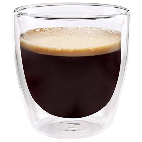 Set of 2 Double-wall Insulated Coffee Mug Glass Tea Espresso Cup 85 oz - Unique By Jecobi