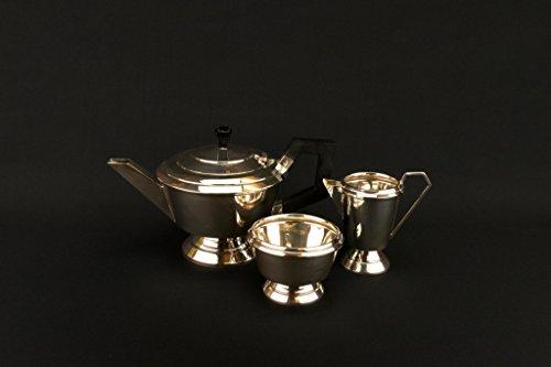 1937 Solid Sterling Silver Tea Set Art Deco Teapot Sugar Bowl Creamer Trio Vintage English George Boot