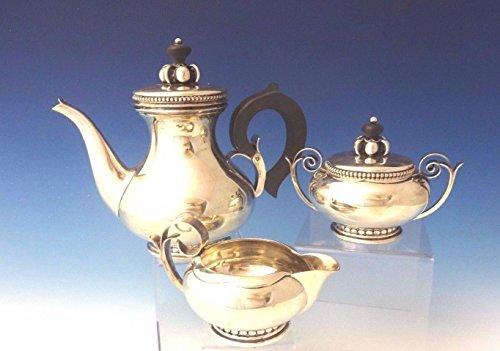 La Paglia by International Sterling Tea Set Pot Creamer Sugar 3pc Modern 0079