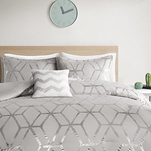 Comfort Spaces Vivian 3 Piece Comforter Set Ultra Soft All Season Lightweight Microfiber Geometric Metallic Print Hypoallergenic Bedding TwinTwin XL GreySilver