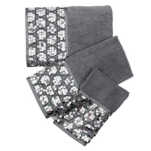 Popular Bath Bath Towels Sinatra Collection 3-Piece Set Silver