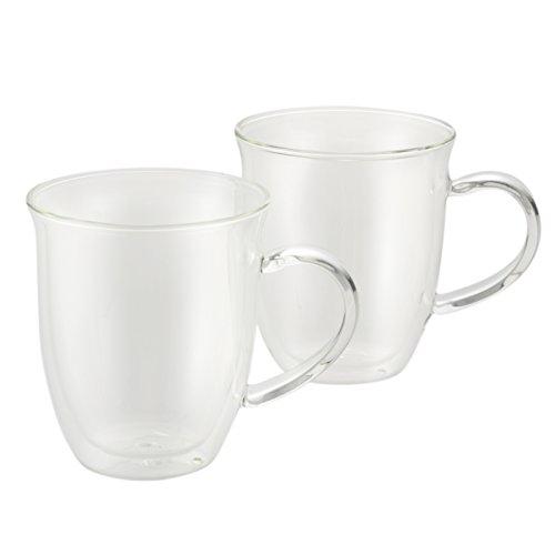 BonJour Coffee Insulated Borosilicate Glass Espresso Cups 2-Piece Set 6-Ounces Each