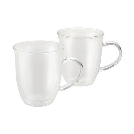 BonJourr Coffee Insulated Borosilicate Glass Espresso Cups 2-Piece Set 6-Ounces Each