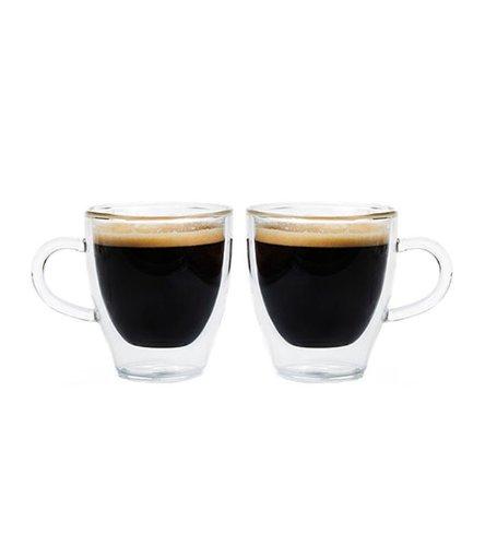 Grosche Turin Double Walled Hand Blown Glass Espresso Cups 70ml 237 fl oz Set of 2