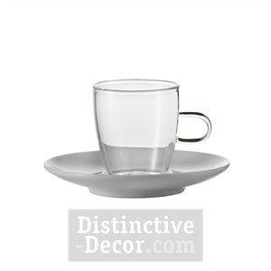Jenaer Glass Espresso Cup With Porcelain Saucer 36oz