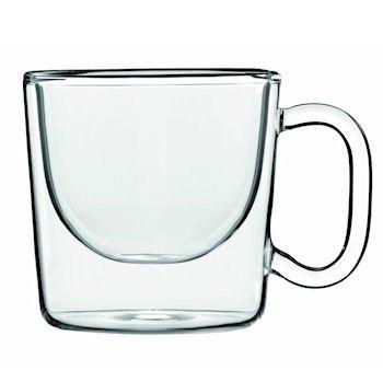 Luigi Bormioli India Double Wall Glass Espresso Coffee Cup Set of 2