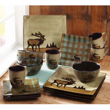 Better Homes and Gardens Roaming Elk 16-Piece Square Dinnerware Set Brown