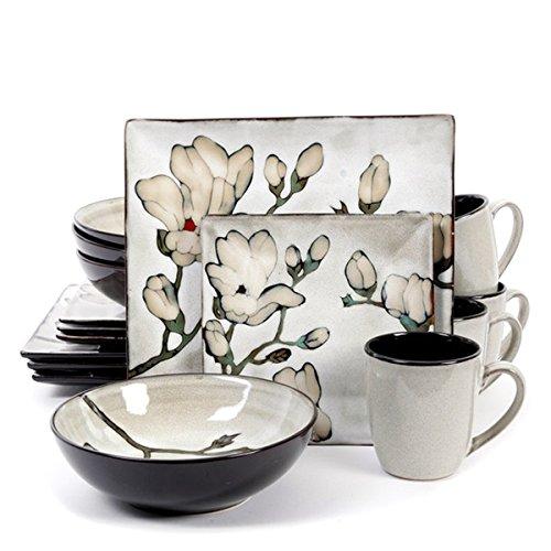 Claretta Grey Floral Dinnerware Set 16 Piece