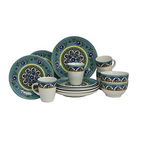 Elama Santa Fe Springs Stoneware Dinnerware Set 16 Piece Set of 4