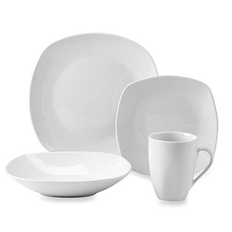 Quinto White Porcelain Square Coupe Dinnerware Set 16-Piece Service for 4