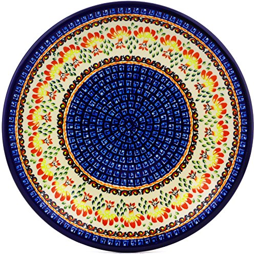Polish Pottery Dinner Plate 11-inch Blooming Red Theme