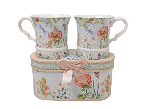 Lightahead Elegent Bone China Unique Set Of Two Coffee Tea Mugs 10 oz each cup set in attractive gift box elegant floral design