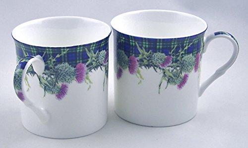 Pair English Premium Fine China Mugs - Green Christmas Plaid Scottish Tartan and Thistle - Set of Two