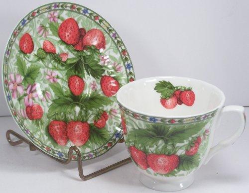 Fine English Bone China Cup and Saucer Strawberry Chintz