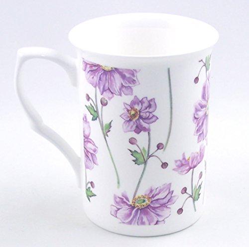 Fine English Bone China Mug - Purple Anemone Daisy Chintz - England