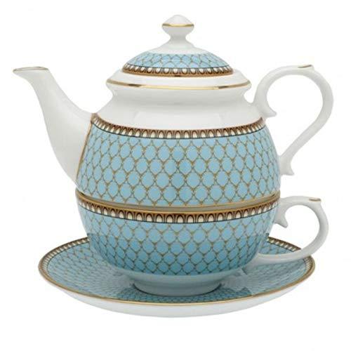 Halcyon Days Antler Trellis Blue Tea for One Set Fine English Bone China Gift Box