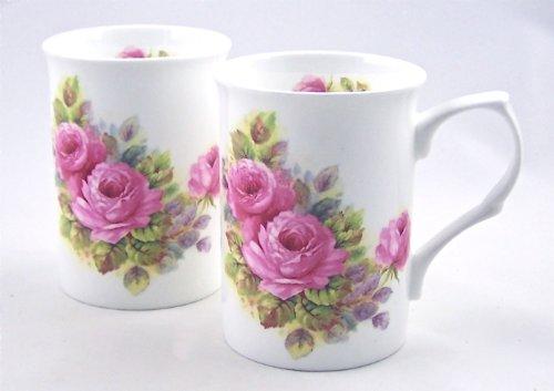 Pair Fine English Bone China Mugs - Rose Pinks Chintz - Crown Victorian China Staffordshire England