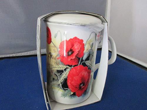 Roy Kirkham Poppy Fine English Bone China Tea Infuser Mug