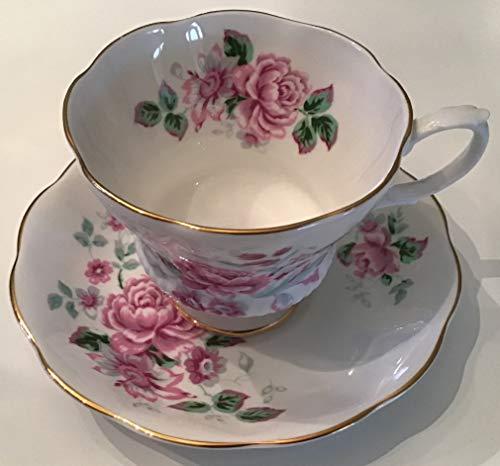 Vintage Royal Albert English Bone China Pink Rose Gold Rim Tea Cup Saucer