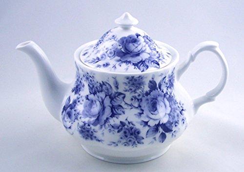Fine English Bone China Teapot - Roy Kirkham England - English Blue Rose Chintz