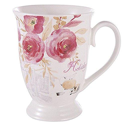 GuangYang Porcelain Bone China Tea Mugs set 11 oz Rose painting pattern Coffee Mug