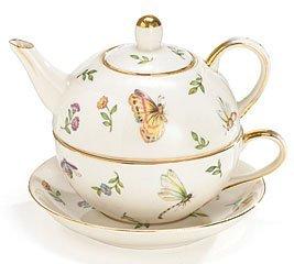 Botanical Porcelain Duo Teapot Teacup and Saucer Set