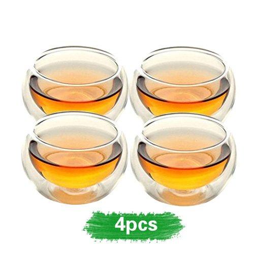 Home teaTM 50ml double layer glass teacup Handcraft Heat Resistant tea cup set of 4