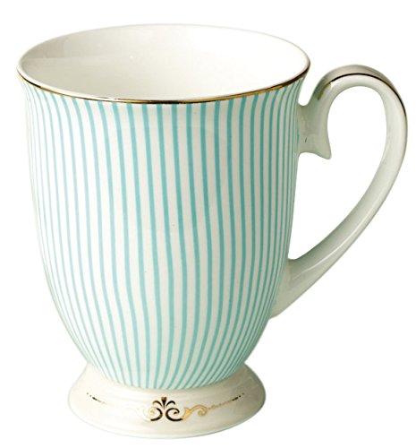 Jusalpha Royal Fine Bone China Light Blue Stripe Coffee Mug Tea Cup Gift Box Mug02