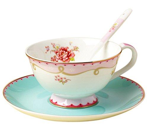 Jusalpha Vintage Rose Bone China Teacup Spoon and Saucer Set TCS02