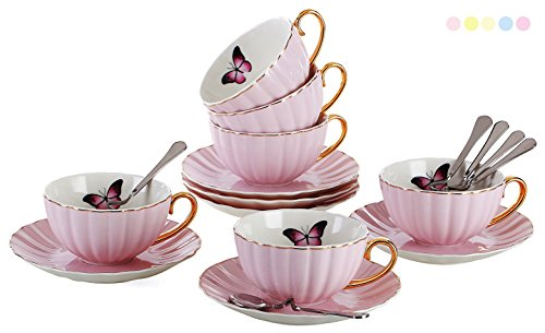 Jusalpha Porcelain Tea Cup and Saucer Coffee Cup Set with Saucer and Spoon FD-TCS03 Set of 6 Pink