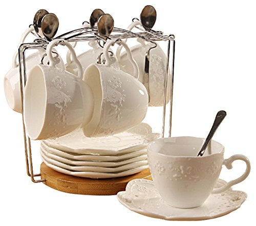 Porcelain Tea Cup and Saucer Coffee Cup Set with Saucer and Spoon 20 pc Set of 6 SI-BFLY-W