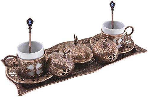 Premium Turkish Greek Arabic Coffee Espresso Serving Set for 2Cups Saucers Lids Tray Delight Sugar Dish 11pc Copper Brown