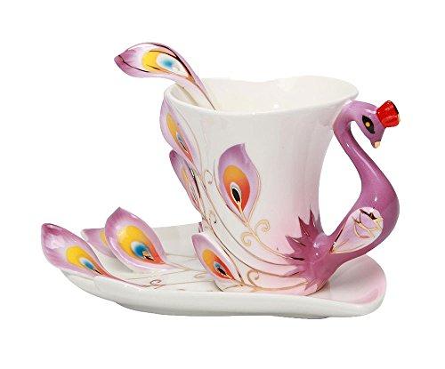 niceeshopTM Hand Crafted China Enamel Porcelain Tea Mug Coffee Cup Set with Spoon and Saucer Purple