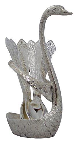 Zap Impex Decorative Metal Swan Spoon Holder Set of 6 Spoons