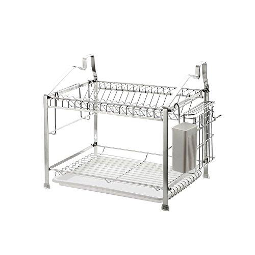 2-Tier Dish Drying Rack Dish Drainer Kitchen Storage Organization Stainless Steel GEYUEYA Home